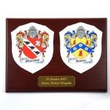 Double Coat of Arms Wedding or Anniversary Plaque, ref FCLMP